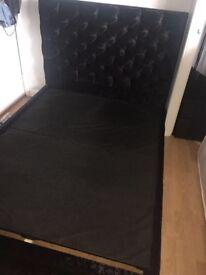 Black velvet bed frame