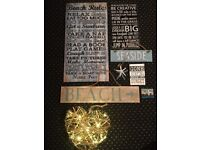 8 Assorted Beach/ Shabby Chic Signs