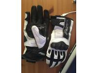 White and black leather rst motorcycle gloves