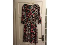 Next Aztec print jersey wrap dress / graphic bold colours black white green orange pink / size 14