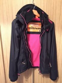 Superdry Womens Artic Windcheater Hooded Jacket with fleece lining, size XS (8) black/pink