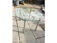 Foldable Round Glass Dining Table - BARGAIN!
