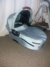 Baby blue pram/ buggy and car seat