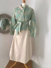 Pre-loved, Designer Summer Dress Suit in cream and mint green, Size 12 Dress, 10 Jacket