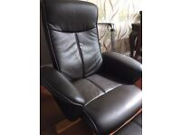 Black Relaxer Chair - Complete with Footstool - Excellent Condition and Extremely Comfortable!
