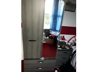 Black ash single wardrobe, chest if drawers, bedside cabinet and shelving