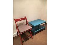 2x IKEA TERJE Folding chairs + 2 IKEA JUSTINA chair pads - as new