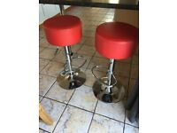 Bar Stool red chrome gas operated