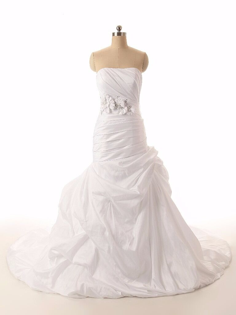 BRAND NEW taffeta mermaid with a bridal sash. in sizes 6-30 white or ivory...BRAND NEW