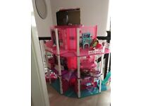Barbie houses, dolls and dvds
