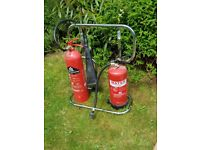 Reduced to £15 as need the space Pair of fire extinguishers with stand