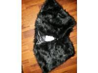 bnwt black fake fur shawl type collar