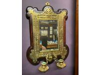 The most exquisite Victorian brass surround mirror with twin candle holders