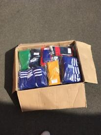Boxes of mixed football socks