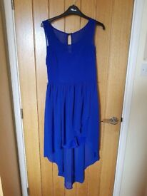 Cobalt blue mini dress with translucent tapered outer lining