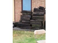 **RECALIMED**TREATED**RAILWAY SLEEPERS**WEATHERED LOOK**RUSTIC HARD WOOD**BEAUTIFUL**£5 EACH*VINTAGE