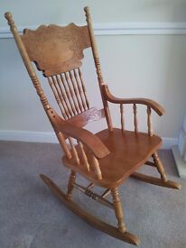 Lovely Solid Wood Pressed Back Rocking Chair.