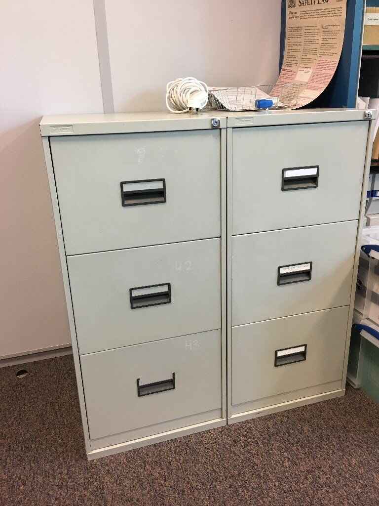 3 Drawer Filing Cabinets Light Grey Suitbale For Hanging File Inserts