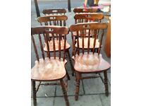 6 SOLID WOOD /PINE CHAIRS NEED TLC