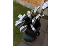 A set of Brownings golf clubs comes with bag , cart,loads of balls ,tees in good condition