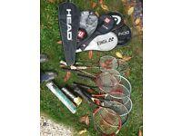 Tennis and Badminton rackets.
