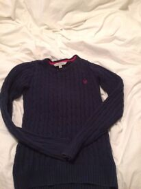 Navy blue Crewe cable knit jumper for sale. Size 8 ladies.