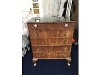 Lovely Antique Vintage Wooden Chest Of Drawers pretty handles and glass top