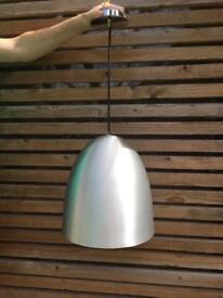 Metallic silver grey pendant lights (pair)