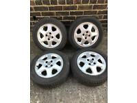 "15"" vauxhall 4x100 alloy wheels, mint tyres"