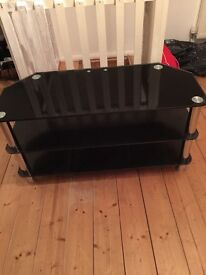Black glass TV stand, 3 tiers.