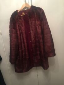 Redish fur jacket never been worn marks Spencer's size 20 good xmas present lovely warm winter £50