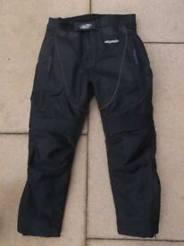 RK SPORTS TEXTILE MOTORCYCLE TROUSERS Size M SHORT LEG
