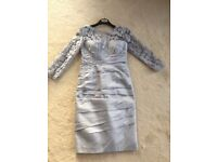 Irresistible by veromia size 10/12 grey silver lace dress and hat