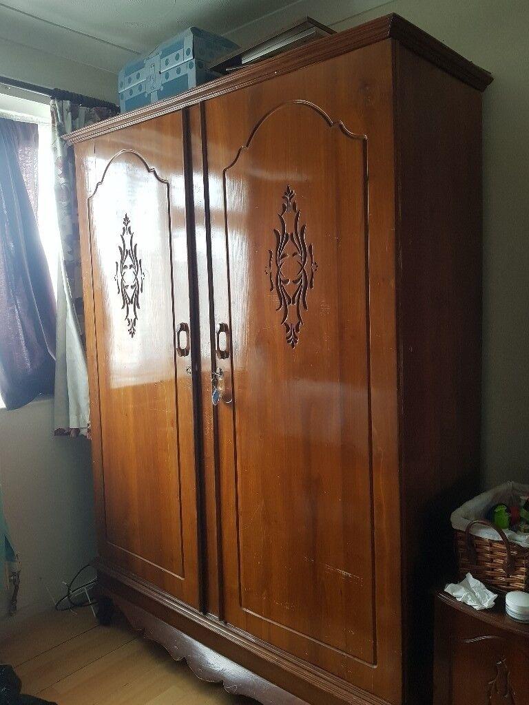 Solid Wood Teak Wardrobe Made In Sri Lanka With Oriental Design In