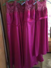 Mark Lesley fuschia pink satin dresses