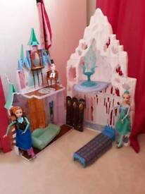 Frozen castle with skating Elsa and Anna