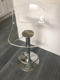 2 x clear bar stools (collection only)