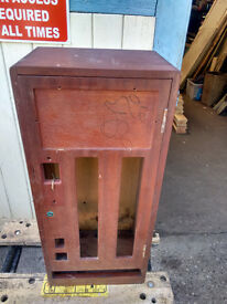 Vintage Retro WOODEN CASE CIGARETTE VENDING MACHINE Carcasses - Possible Mahogany