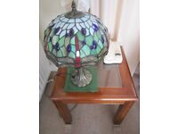Two traditional solid mahogany square glass side tables