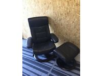 Reclining chair and stool in leather