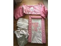 Baby girl pink changing mat/cot sheets/bumper