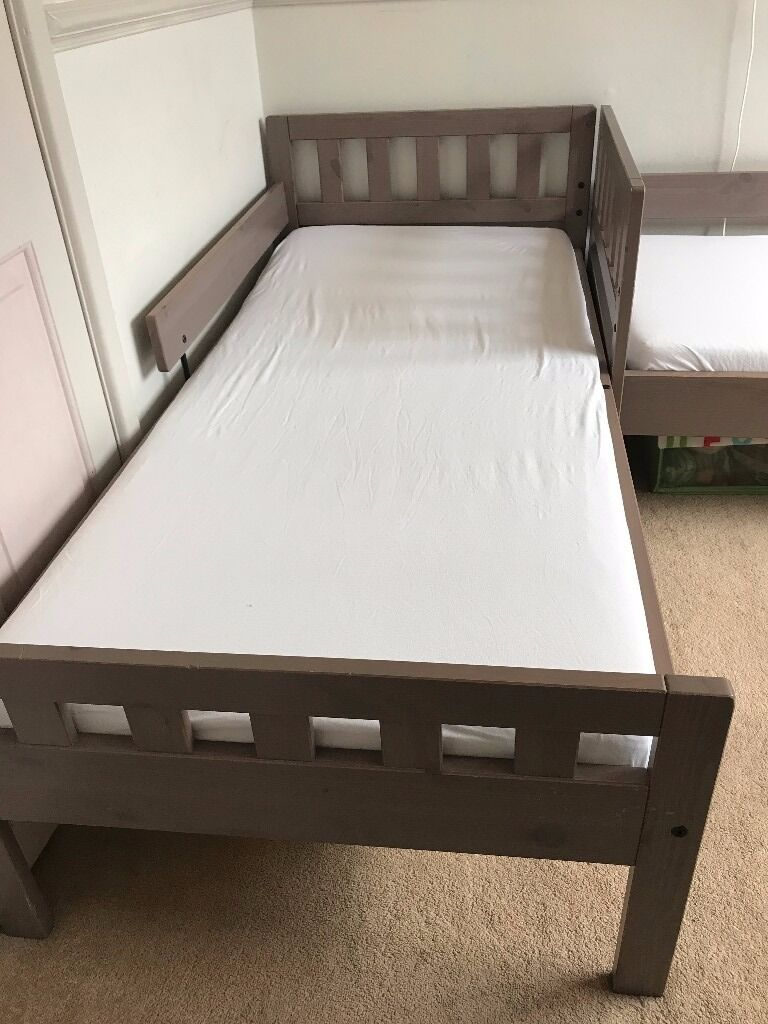 Two IKEA MYGGA Bed Frame With Slatted Bases And Mattresses