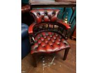 Oxblood Chesterfield Captains Chair