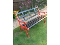 Garden Bench with Cast Iron Ends and NEW Hardwood Slats ono