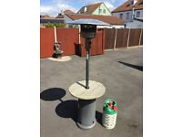 Patio Heater with table top and wheels - Gas bottle & valve included