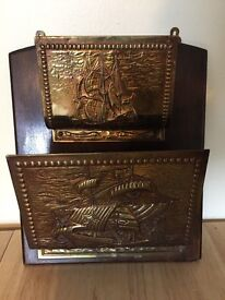 Art Deco wooden and brass letter/magazine rack