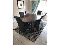 Indian Mangowood Dining Table & 6 Leather Chairs