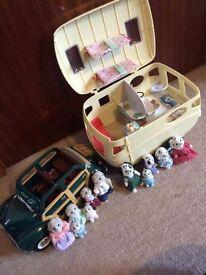 Sylvanian Car and Caravan Set with Dalmation and Guinea pig family