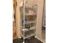 LANGRIA all-purpose and space-saving storage rack, metal, white-5-tier
