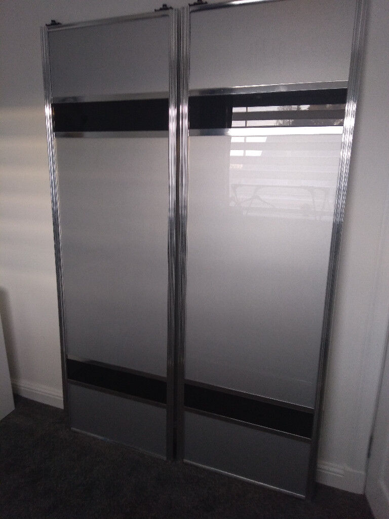 Sliding wardrobe doors, silver & black glass with chrome ...